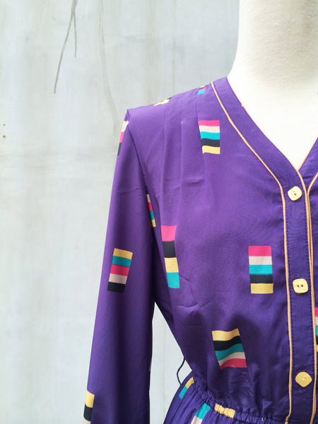 SALE ! |  Swatch Watch | Vintage 1970s pantone swatch inspired print Purple pleated dress
