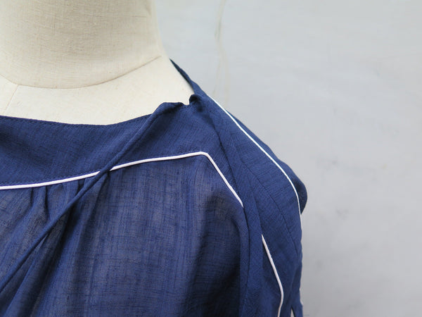 LaSalle Sail | Vintage 1950s 1960s Navy blue dress with shoulder ribbons and white piping