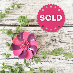 Vintage vibrant Purple & Pink enamel Poppy Flower Power Brooch