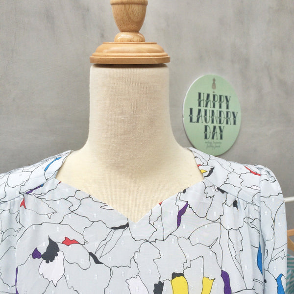 Tulips Sprinkles| Vintage 1930s sweetheart neckline Sheath |Mosaic pops of colors
