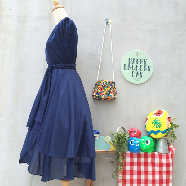 It's a Wrap! | Vintage 1970s dark blue Wrap Dress with layered skirt