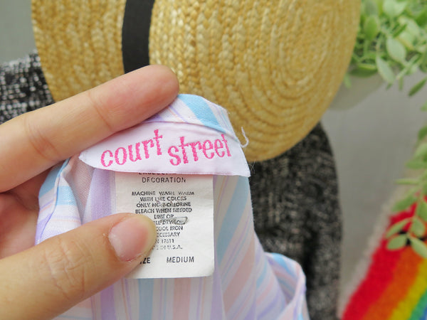 Friendly giant | Vintage 1980s pastel coral pink lavendar white stripe Loose Jumper Dress