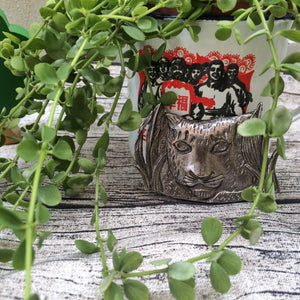 Meow Mask | Vintage 1950s 1960s Lion or Cat Mask Pewter brooch