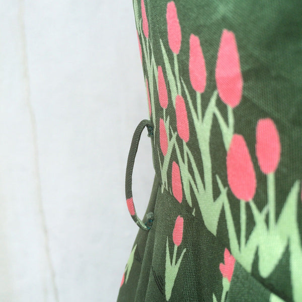 Spring Meadows | Vintage 1960s 1970s Floral Tulip print Pink Flowers Grass Green sleeveless Day Dress