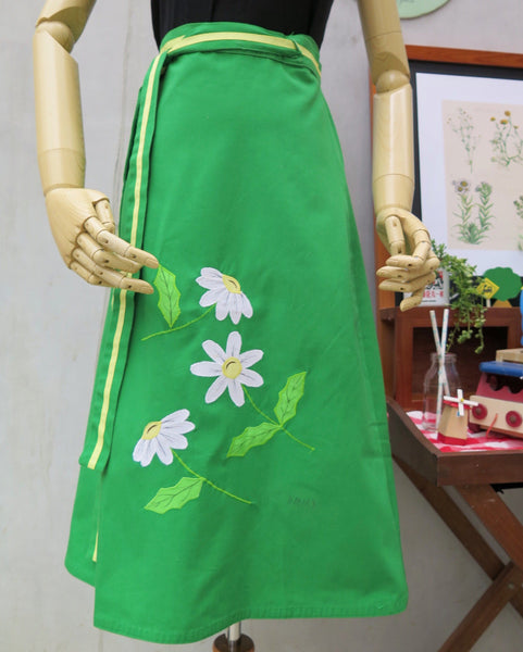 Wayside Daisies | Vintage DMD designer signed 1960s 1970s Wrap skirt with Applique Daisy