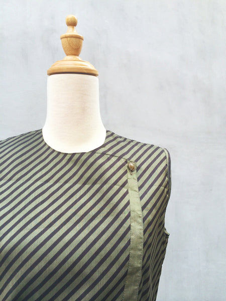 Rome in Gold | Satin sheen Vintage c.1970s diagonal stripes Bronze semi-formal Dress