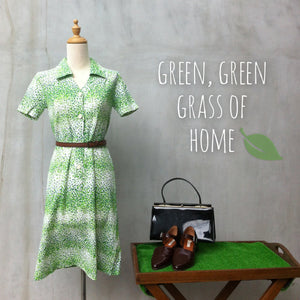 Green Green Grass | Cute retro Vintage 70s polka dot small print Green dress