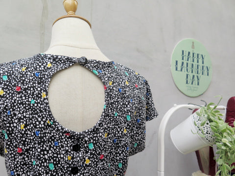 Mosaic Order | Vintage 1980s Multi-colored polka dots Romper Playsuit