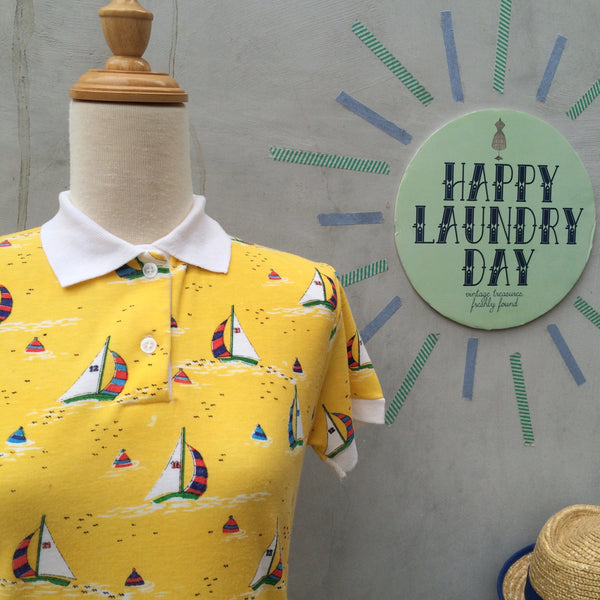 Yellow Yacht | Vintage 1960s 1970s Nautical Sailboat Polo Tee