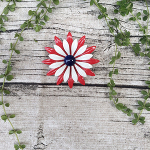 Sparkles | Vintage 1960s patriotic Red White Blue Fourth of July flower brooch