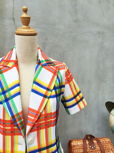 SALE | Candied Stripers | Vintage 1960s 1970s multi-colored stripe Groovy retro mod Jacket