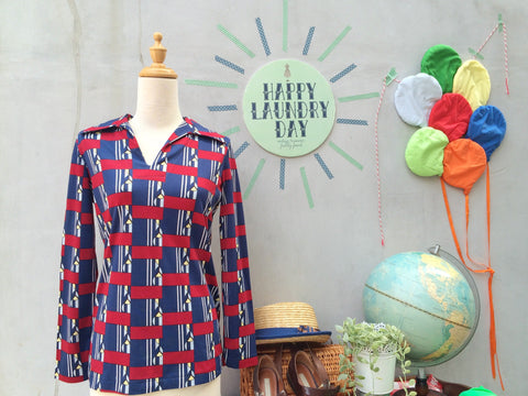 Mod Pop Mum Pops | Vintage 1960s 1970s retro Mod Pop Art deco print Pointy-collar Shirt Blouse | Trippin'!