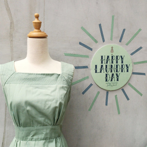 Must Have! | A Good Girl | Vintage girl scout green 1950s 1960s Sundress with slant stitched pockets