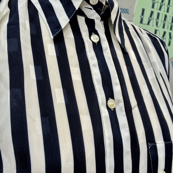 SALE | Big Billy | Vintage 1980s oversized White and Navy Striped Liz Claiborne Shirt Blouse