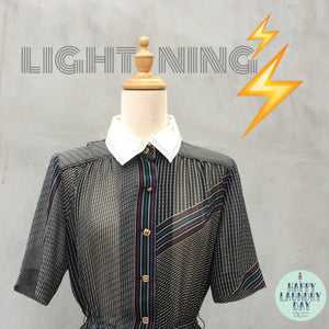 Lightning | Vintage 1970s Electric Company retro Techni-color Dress