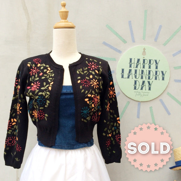 Sew Nice | Vintage 80s-does-50s Retro pinup glam style Embroidered Bolero Sweater