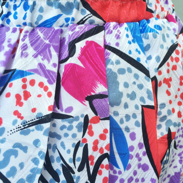Summer Shapes | Vintage geometric Pop art funky groovy 1980s printed Pleated Skirt