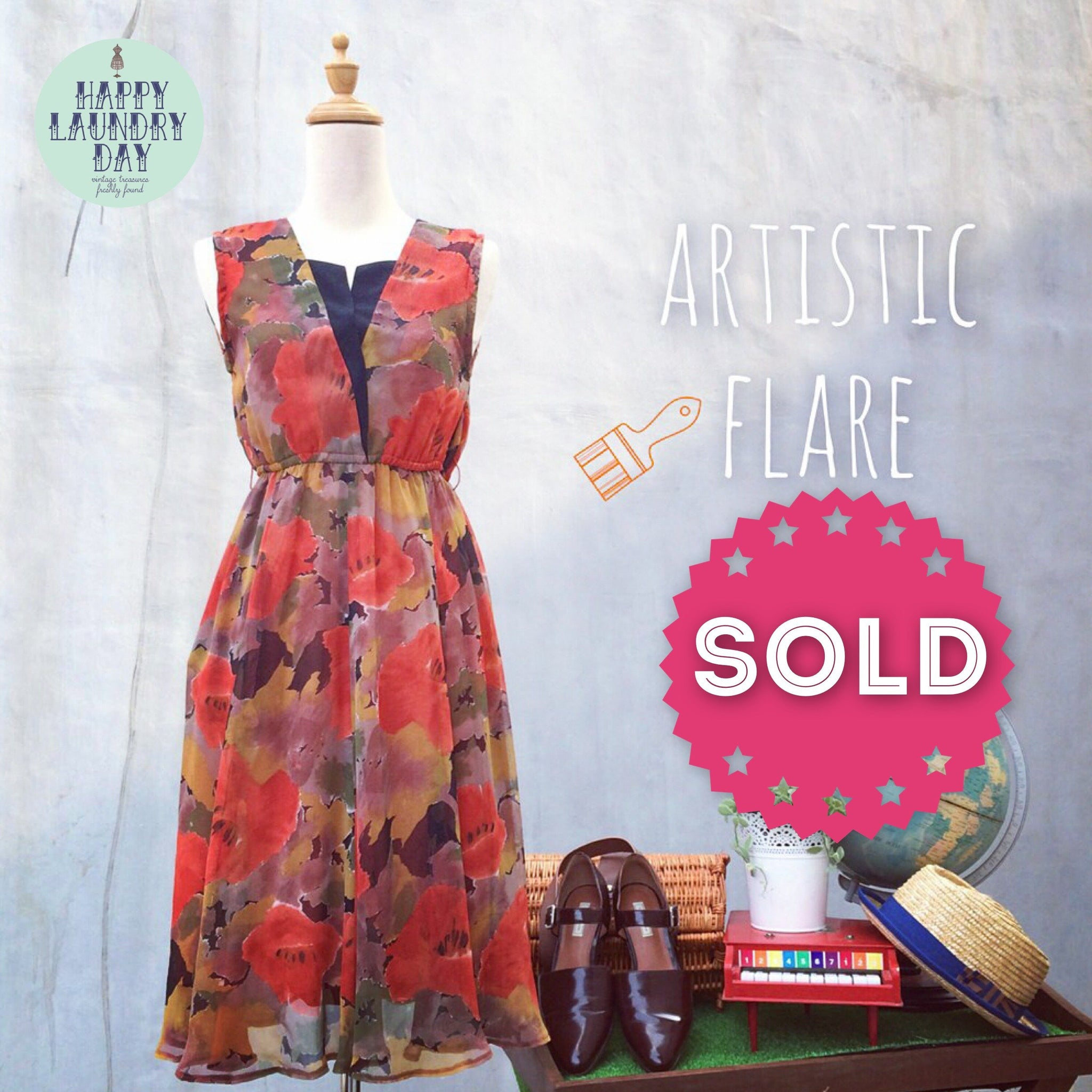 Artistic Flare | Fall colors Floral watercolor Vintage 1980s dress