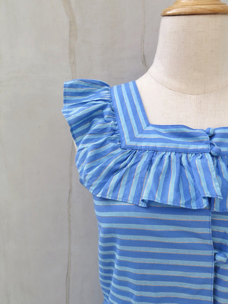 MUST HAVE! | Rumpelstiltskin | Vintage 1960s 1970s Striped Blue modal Square neckline Frilled sleeves Dress with Gold Threads