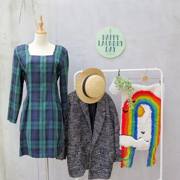 Walk the Walk | Vintage 1980s 1990s plaid tartan Blue Green Clueless Movie inspired style Shift Dress Grunge Chic