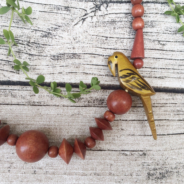 Cheep Chirp | Vintage 1970s 1980s wooden bead Animal parrot bird necklace