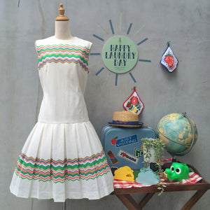 Tennis Luncheon | Vintage 1960s 1970s Stepford wives Club Luncheon sporty Chevron zig zag stripes White Drop Waist Dress
