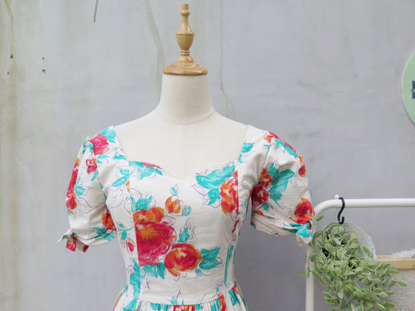 Rose Mary | Vintage 1980s Laura Ashley Floral Rose print Midi Tea Dress