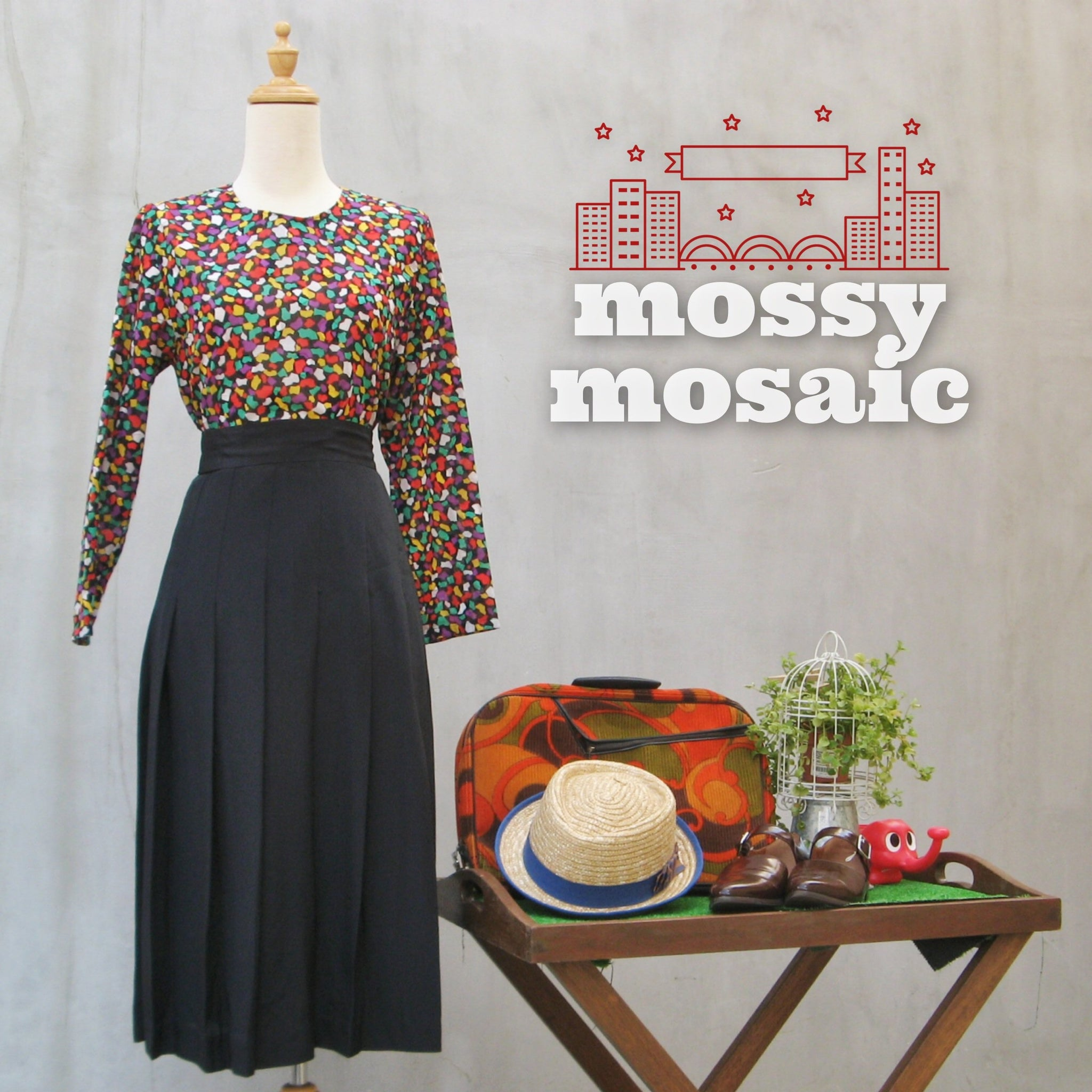 Mossy Mosaic | Multi-colored Confetti Vintage 1960s back button-down Blouse | Textured Polka dots!