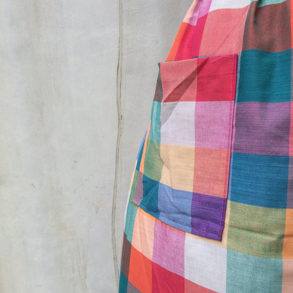 Must Have! | Rainbow's End | Vintage 1980s Rainbow-coloerd plaid checkered dress | Dress with pockets