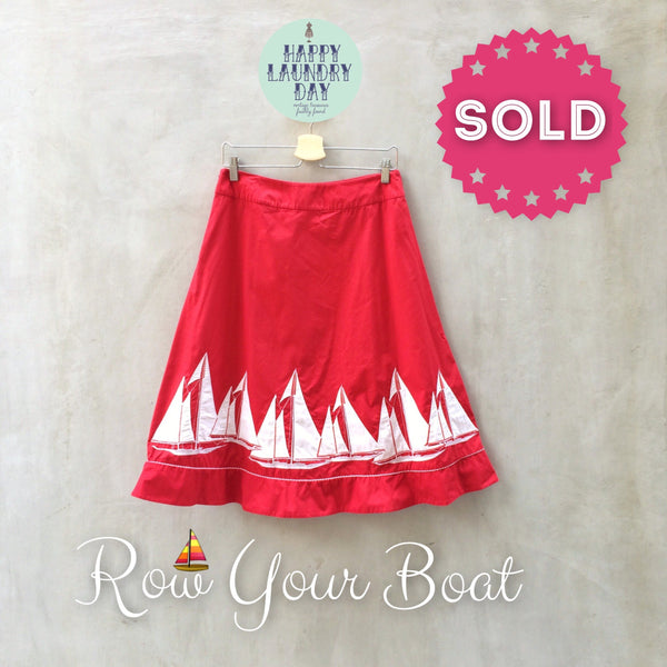 Row your Boat | Vintage 1980s does 1950s Pinup Glam Yacht white Sailboat Skirt