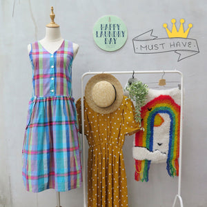 Must Have! | Bindee | Vintage 1980s 1990s multi-color rainbow plaid cotton Tank dress