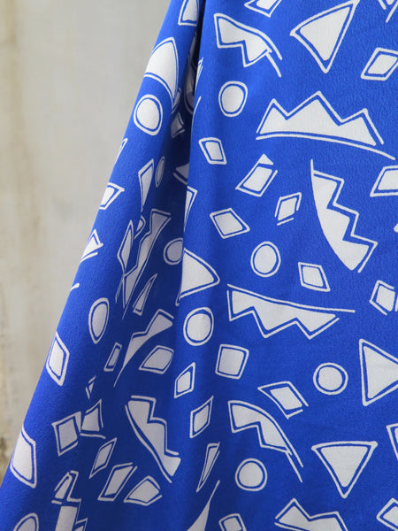 Oddly Cool | PLUS SIZE Vintage 1980s abstract shapes Blue fun geometric Dress with POCKETS!