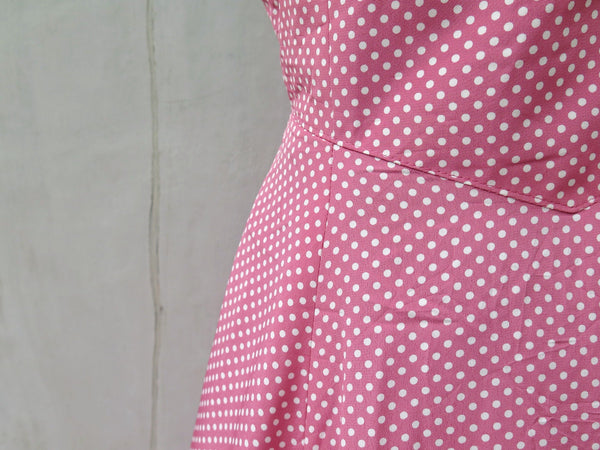 Rosie | Vintage 1980s 1990s Rose pink white polka dot Midi Jumper Dress