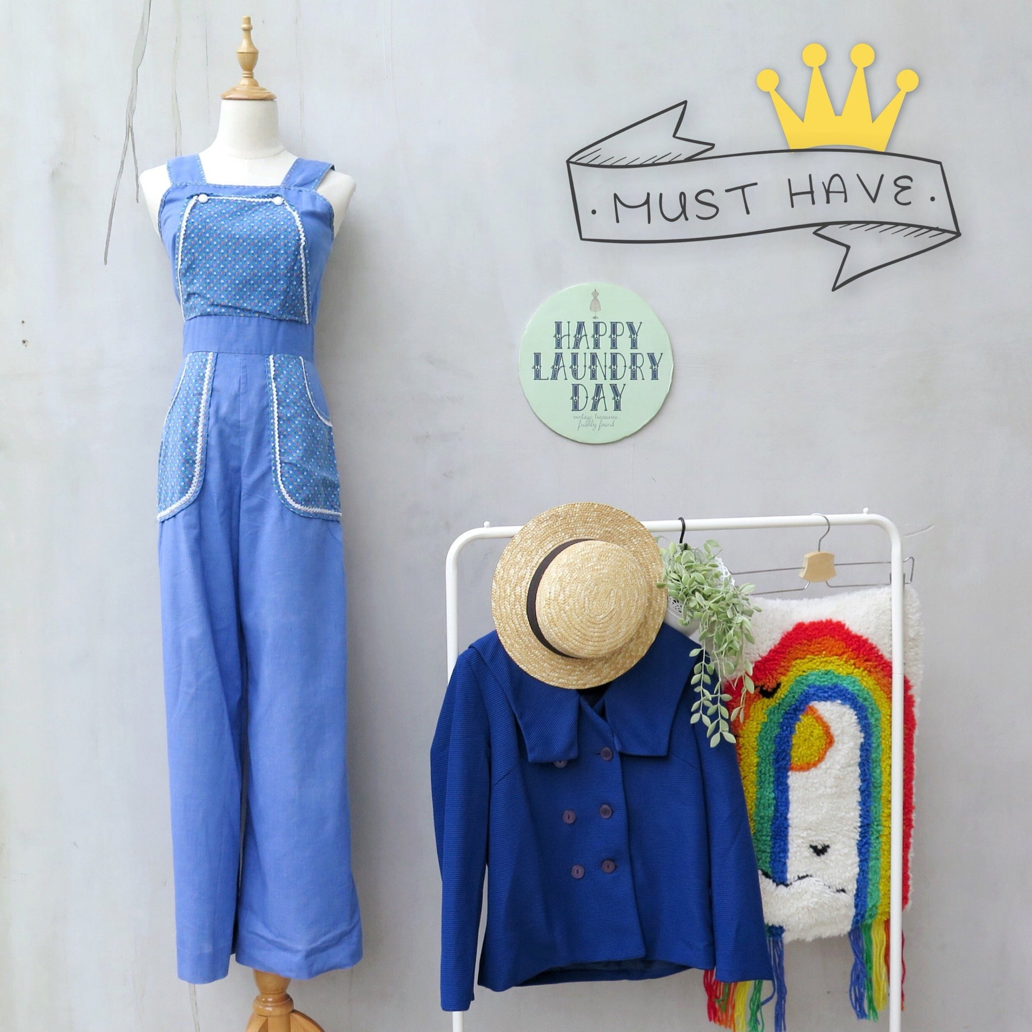 MUST HAVE | Marley | Vintage 1950s 1960s Patchwork Bohemian hippie Woodstock Chambray Jumpsuit