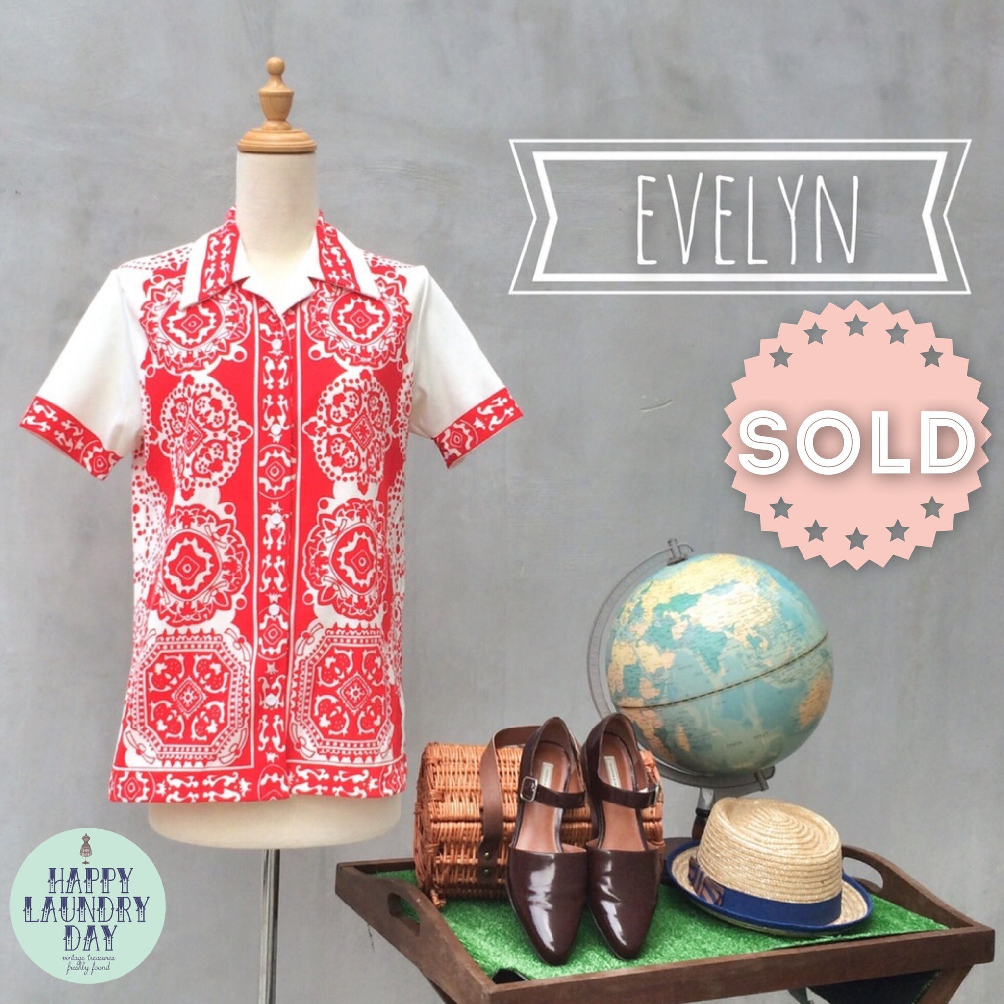 SALE! | Evelyn | Red white Paisley retro 1950s print Hostess shirt