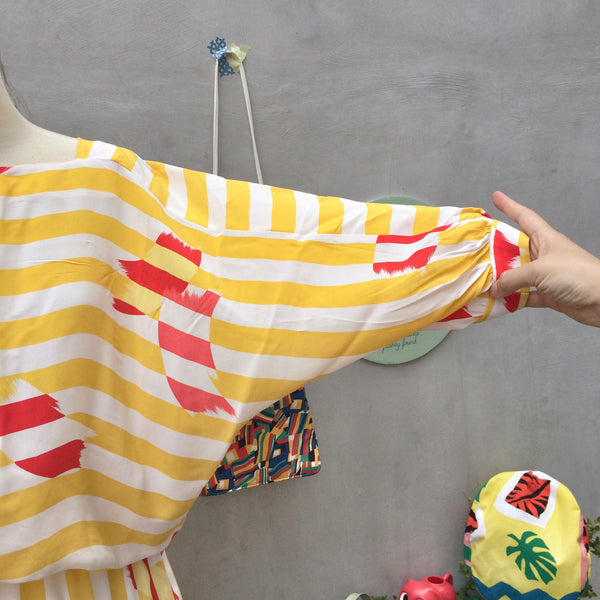 Fly Away | Vintage slouchy fit 1980s does 1920s yellow white stripes with Red brushstrokes | Artistic