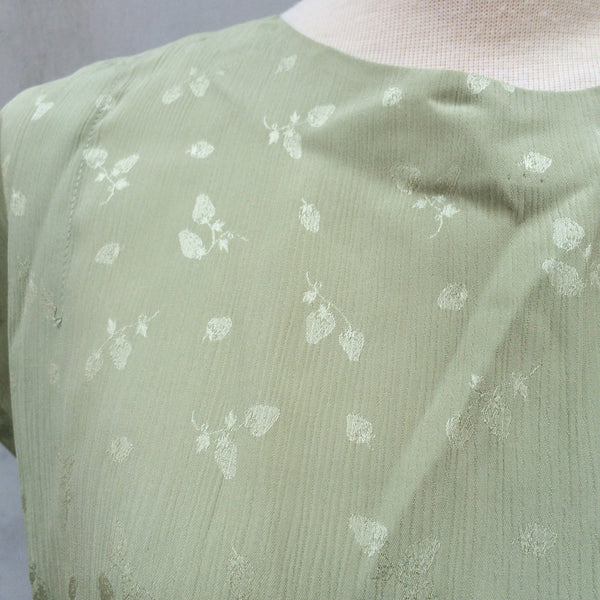 Green Strawberries | Vintage 1950s 1960s hidden Strawberry print Pastel Green Dress with Ribbon