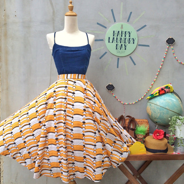 Swing Party! | Vintage 1960s Art Deco Art Nouveau print Yellow and White print Circle Skirt