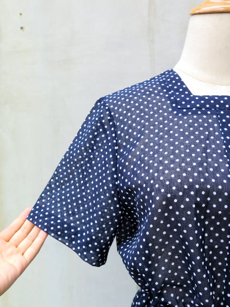 Blue or white | Vintage 1950s 1960s blue and white polka dot Square neckline lightweight Day Dress