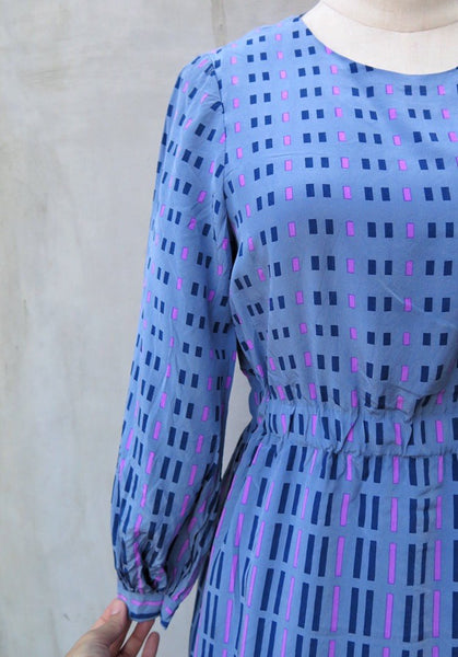 Joy Ride | Vintage 1960s 1970s Dashes and Lines Blue-grey Long sleeve Dress