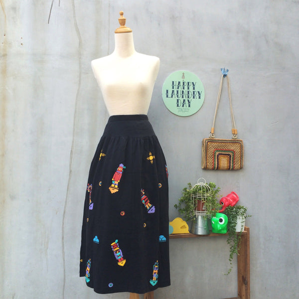 Robot Dreams | Vintage 1970s 1980s pop art Neon novelty Native American Cartoon Print MAXI skirt with POCKETS