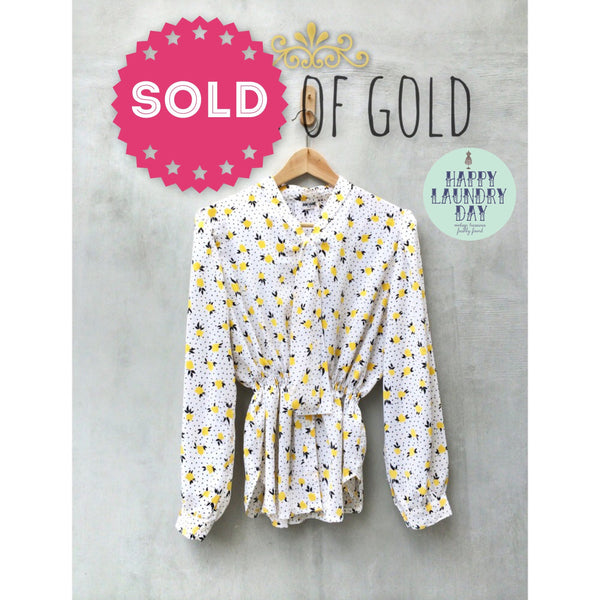 Fields of Gold | Vintage 70s blouse Cheery yellow tulip print Sexy secretary top