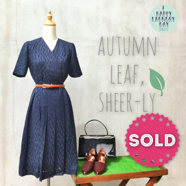 Sheer Autumn Leaf | Vintage 70s dress with 3D textured geometric polka dot