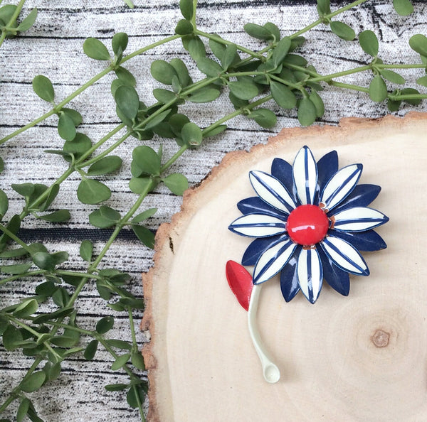 Vintage patriotic Red Blue White Flower Power 1960s retro mod Floral Brooch