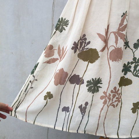 Woodland Shadows | Vintage 1970s Chiffon floral Plant Silhouette print Pleated skirt