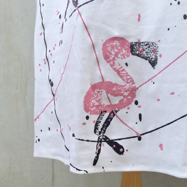 Flamingo Flourish | Vintage 1980s Flamingo print and Pollock Splatters Jersey Tank Dress