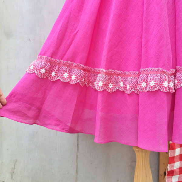 Rare Fruit | Vintage 1950s 1960s floral lace Fuchsia pink purple Full Circle skirt Dress
