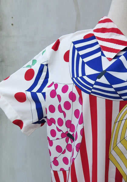 Kaleidoscopetro | Vintage 1980s 1990s retro punk Pop Art vibrant multicolor Oversize Shirt