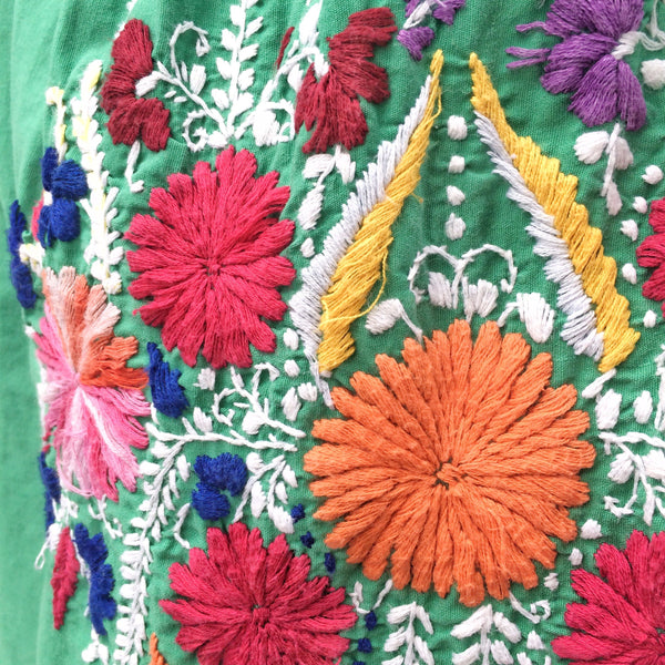 Villa de Mexicano | Vintage 1960s 1970s Hippie Flower Power Mexican Hand Embroidery Maxi Dress