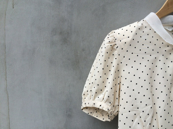 SALE ! |  80s 40s Rabbit ears | Vintage 1980s does 1940s polka dot Lace collar blouse |French blouson